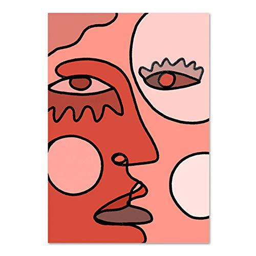 Creatieve Canvas Schilderijen Abstract Kubisme Gezicht Tekening Foto's Wall Art Poster Print voor Woonkamer Woondecoratie -50x70cm Geen Frame