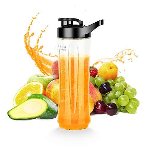 Smoothie Flasche, Flasche für SCIJOY Minimixer Tritan Trinkflasche, BPA-frei 600Ml, transparent Trinkverschluss, spülmaschinenfest, Bruchfest, für Kaltes und Heißes fur home and outdoor