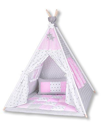 Amilian Tipi Spielzelt Zelt für Kinder T11 (Spielzelt mit der Tipidecke und Kissen)