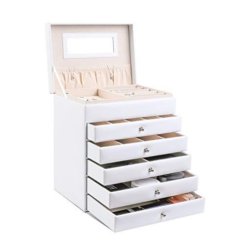 femor Schmuckkästchen, 6-lagige Schmuckschatulle, Damen Schmuckbox mit 5 Schubladen,Spiegel,Schmuckkoffer Leder,25 x 18 x 28 cm,Weiß