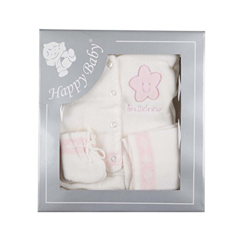 Coffret tricot - bébé - 100% acrylique (blanc et rose 4 pcs)