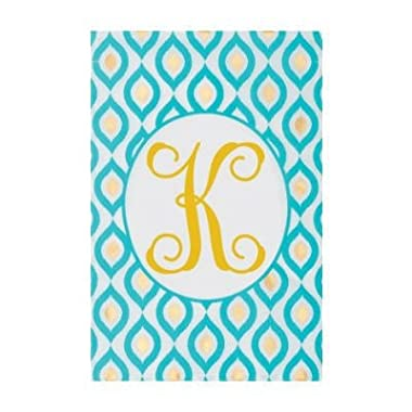 Turqoise Peacock - Letter K - Embroidered Monogram - Decorative Double Sided Flag - Garden Size, 12 Inch X 17.98 Inch Licensed, Copyright & Trademark Custom Decor Inc.