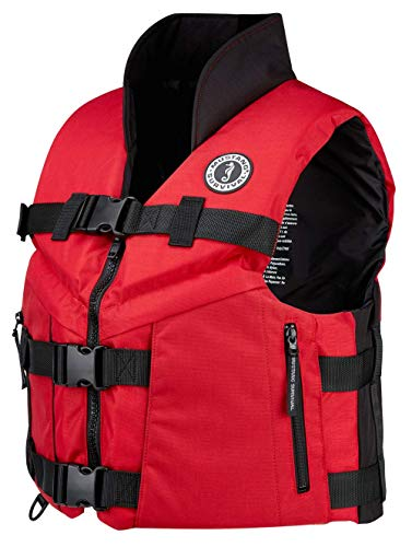 Check Out This MUSTANG SURVIVAL - Accel 100 Fishing Vest for Adults (Red & Black - 2XL) Three Buckle...