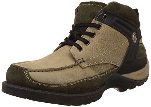 Woodland Men's Khaki Leather Trekking and Hiking Boots - 10 UK/India (44 EU) (OGB 1981116)