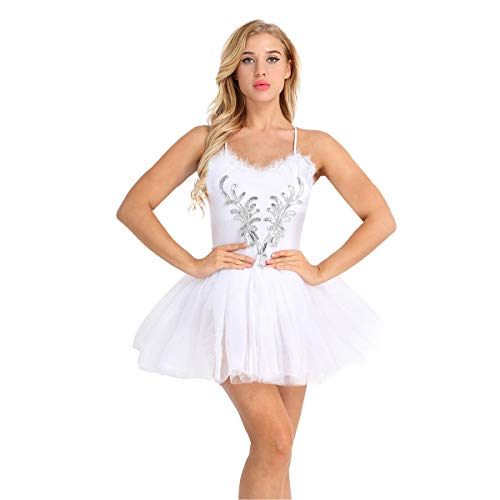 IEFIEL Vestido de Danza Lentejuelas Disfraz de Bailarina Mujer Disfraces de Ballet Cisne sin Mangas Mallot con Falda Tul Elegante Blanco S
