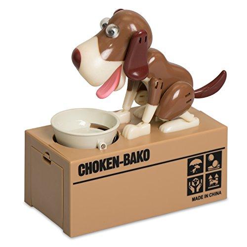 Grinscard Spardose im Hungry Dog Design - Kiste mit Hund und Fressnapf - Gadget Elektro Sparbüchse als Geschenkidee