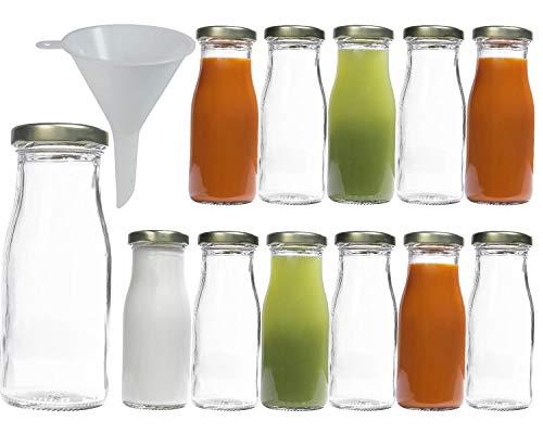Viva Haushaltswaren - 12 bottigliette in Vetro a Collo Largo, 156 ml, per succhi di Frutta, con Imbuto del Diametro di 7 cm