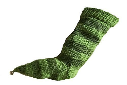 Low price Green Striped Stocking cheap Hand Knit eweandmeya Pointy Bell with Toe