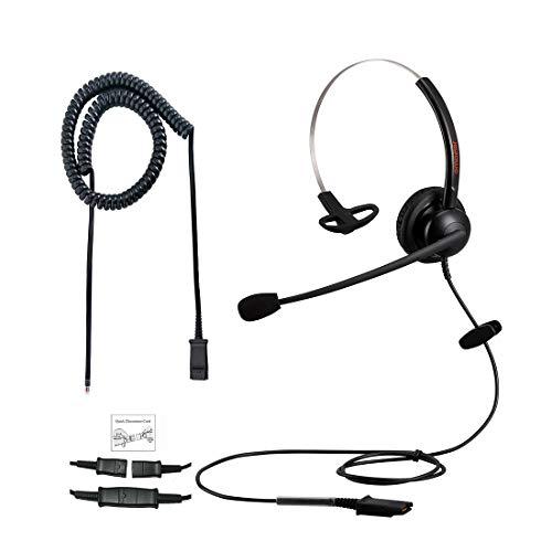Emaiker - Cuffie telefoniche con microfono U10P QD cavo RJ9 jack per telefoni fissi ufficio IP Aastra Avaya Alcatel Ericsson Fanvil Gigaset Htek Mitel Polycom Siemens Toshiba Nero 04.