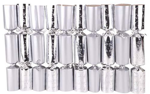 Toyland 10 Silver Christmas Crackers - 5 Plain 5 Weihnachtsbaum Design