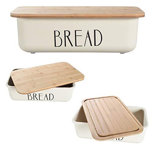 NOX | Brotkasten Holz | Brotbox | Brotkiste | Brot Aufbewahrungsbox | Brotkorb | Brotbehälter | Brotkiste | Brotaufbewharung | Hochwertig verarbeitetes Holz | Bambus | Cremeweiß | 40 x 13 x 24 cm
