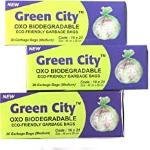 Green City OXO BIO-DEGRADABLE ECO-FriendlyGarbage Bags Medium Pack of 3