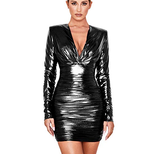 Womens V Neck Long Sleeve Ruffle Front Cross Gilding Glitter Boydcon Shift Club Mini Dresses Black M