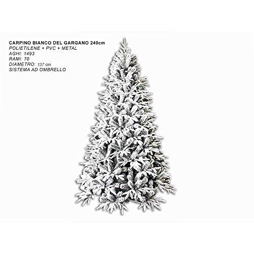 Mazzeo Giocattoli Albero di Natale 240 cm Carpino Bianco innevato Neve Artificiale Riproduzione