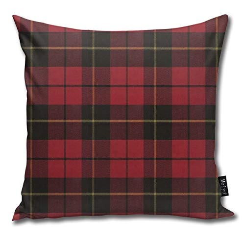 QMS CONTRACTING LIMITED Throw Pillow Cover Wallace Red Original Scottish Tartan Decorative Pillow Case Home Decor Square 18x18 Inches Pillowcase