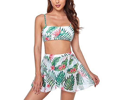 Conjunto de bikini sexy de traje de baño de bikini de 3 piezas para mujer con traje de falda de playa de encubrimientos,Blanco,M
