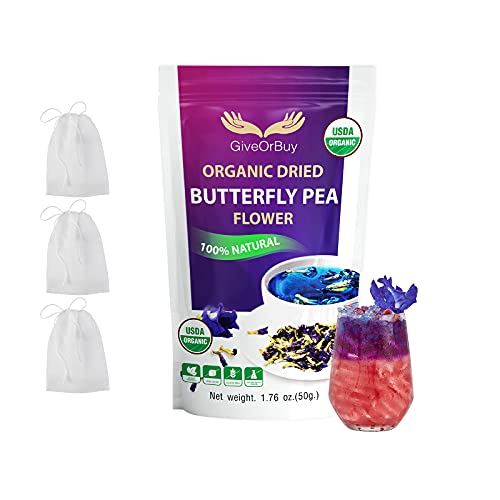Butterfly Pea Flower 1.75 Oz USDA Organic Butterfly Pea Tea Gluten Free Vegan Rich Healthy Herbal Butterfly Tea - Butterfly Pea Flower Tea For Drinks, Food Coloring By GiveOrbuy