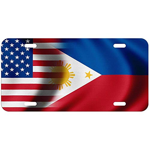 DKISEE License Plate Frame Flag of Philippines (Filipino, Pinoy) - Bricks Aluminum License Plate Cover Auto Tag Holder 6'X12'