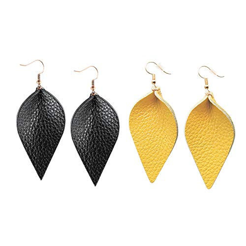 Genuine Leather Earrings Set Teardrop Petal Leaf Leather Dangle Earrings Leather Feather Drop Earring for Women Girls, S/M/L