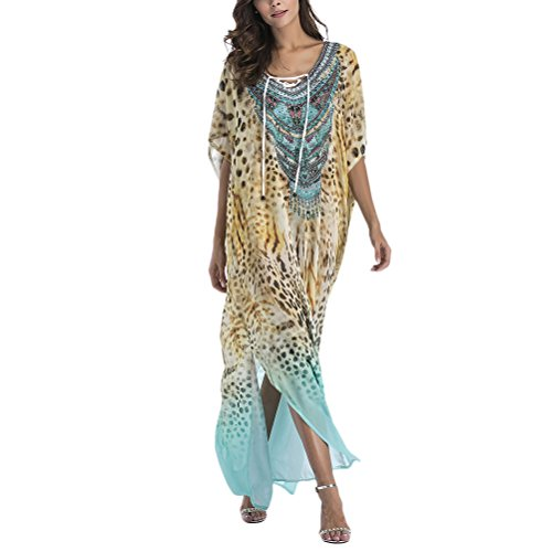 Zhuhaitf Elegante y Hermoso para Mujer, Summer Boho Printed Tunic Kimono Dress Ladies Summer Women Evening Maxi Party Bikini Cover Up