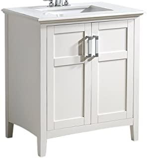 Simpli Home NL-WINSTON-WH-30-2A Winston 30 inch Contemporary Bath Vanity in Soft White with Bombay White Engineered Quartz Marble Top