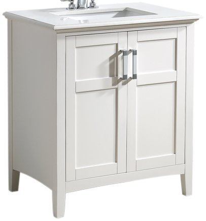 SIMPLIHOME Winston 30 inch Contemporary Bath Vanity in Soft White with Bombay White Engineered Quartz Marble Extra Thick Top