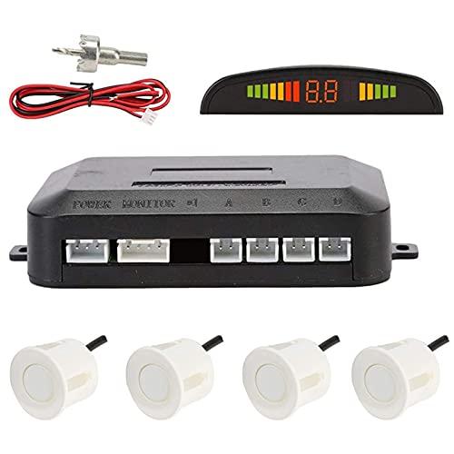 Sensores de Aparcamiento Marcha Atras,OSAN Kit de Auto LED Display + Alarma de Sonido + 4 Sensores Blanco
