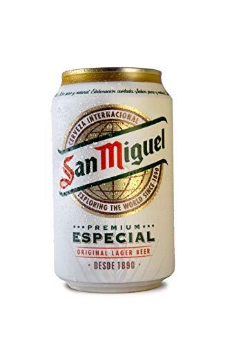 24 latas de 0,33 l. Lager especial de San Miguel, 5% vol. Depósito incluido, desechable.