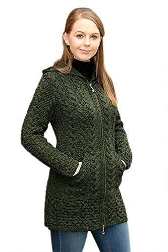 Hooded Coat With Celtic Knot Zipper Pull Green