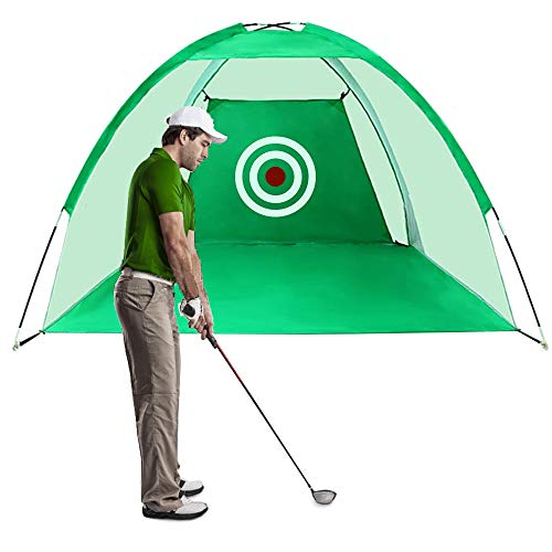 FUNME Golf Hitting Net with Target Sheet Golfing Portable Swing Training Aids Driving Range for Outdoor and Indoor with Carry Bag and Golf Balls (Green, 9.8ft)
