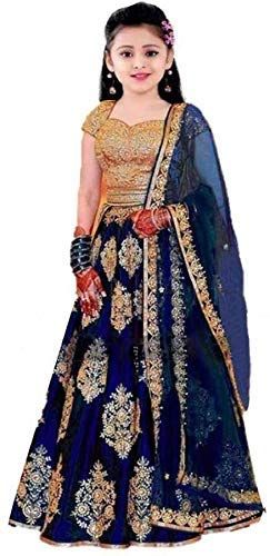 Leons Fab Girl's Satin Semi stitched Lehenga Choli (K_Blue.Lehenga001_Blue_Free Size)