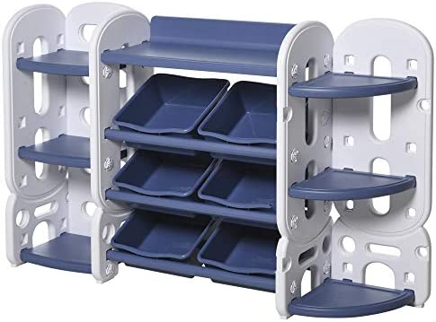 Qaba Kids Toy Storage Organizer Book Shelf with 3 Separate Shelving Sections, 7 Shelves, & 6 Removeable Bins, Blue