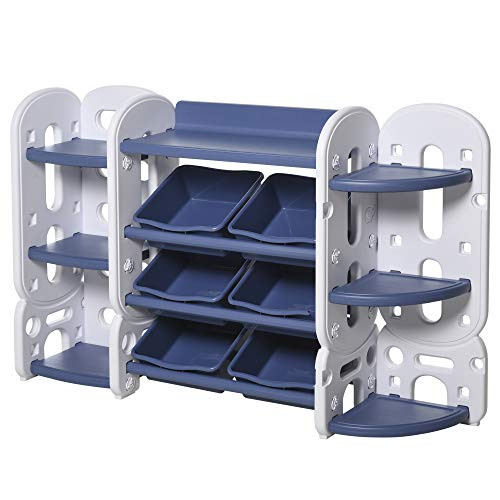 Qaba Childrens Toy Storage & Bin Organizer with 3 Separate Shelving Sections, 7 Shelves, & 6 Removeable Bins, Blue