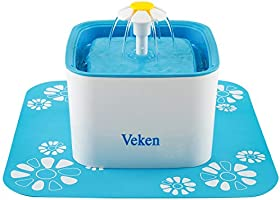 Veken Pet Fountain, 84oz/2.5L Automatic Cat Water Fountain Dog Water Dispenser with 3 Replacement Filters & 1 Silicone...