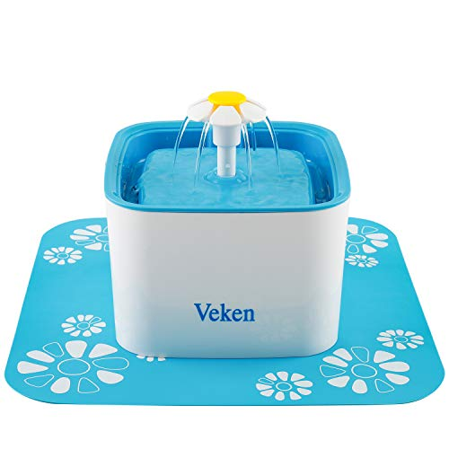 Veken Pet Fountain, 84oz 2.5L Automatic Cat Water Fountain Dog Water Dispenser with 3 Replacement Filters & 1 Silicone Mat for Cats, Dogs, Multiple Pets, Blue