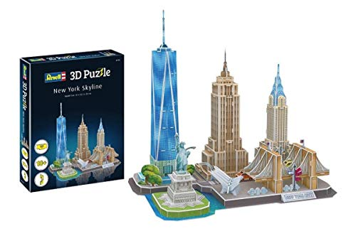 Revell 3D Puzzle 00142 New York Skyline mit Empire State Building, Freiheitsstatue und Brooklyn Bridge Die Welt in 3D entdecken, Bastelspass für Jung und Alt, farbig