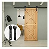 LWZH 6.6FT Sliding Barn Door Hardware Track Set Sliding Door Track Kit Closet Set for Single Door, I-Shaped Hangers