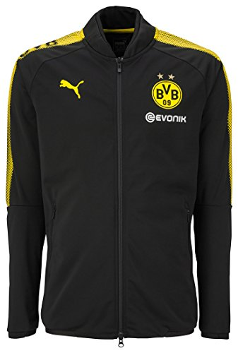 PUMA Herren BVB Poly Jacket Sponsor Logo 2 Side Pockets with z Jacke, Black-Cyber Yellow, S