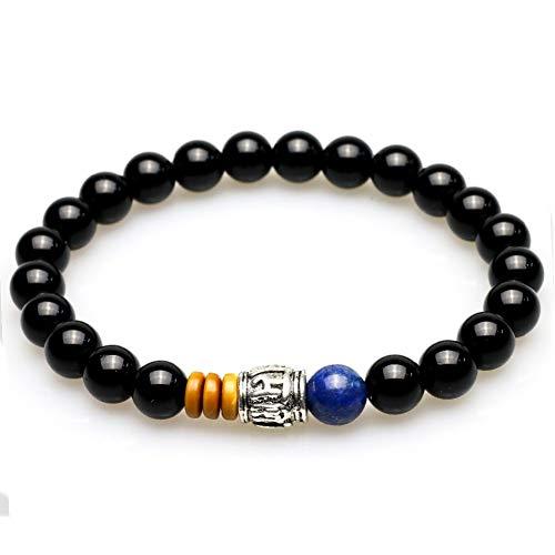 HMKLN Onyx Negro Natural con lapislázuli, Piedra, Cuentas, Hombres, Pulsera, Concha de Coco, Cuentas de oración, Pulseras de Buda