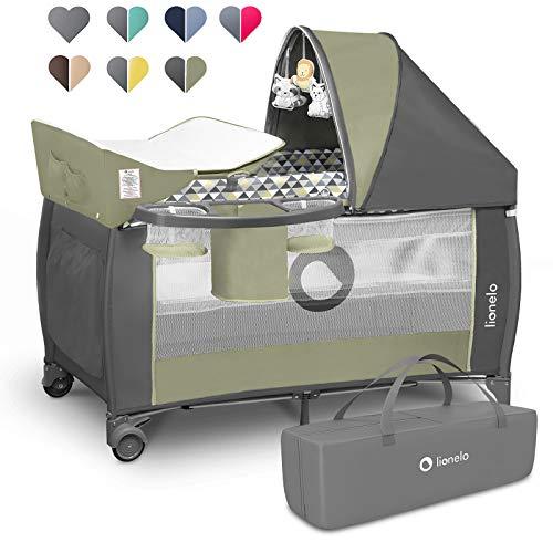 Lionelo Sven Plus 2 in 1 Baby Bett Laufstall Baby ab Geburt bis 15 kg Wickelauflage Moskitonetz luftige Seitenwände mit Seiteneingang Tragetasche zusammenklappbar (Green Olive)