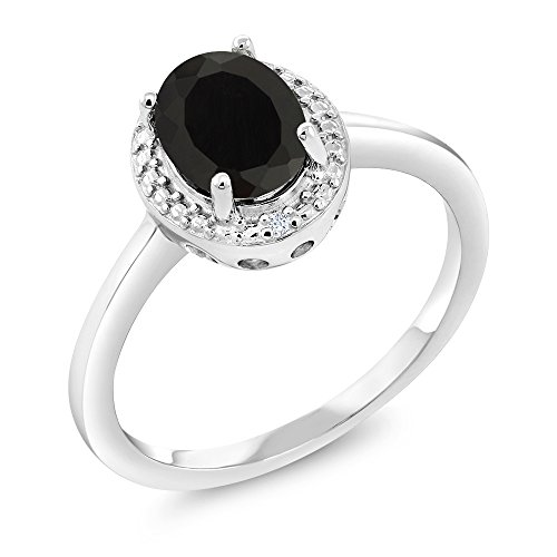 Gem Stone King 925 Sterling Silver Black Onyx and White Diamond Women's Ring (1.26 Cttw, Oval 8X6MM, Available 5,6,7,8,9) (Size 5)