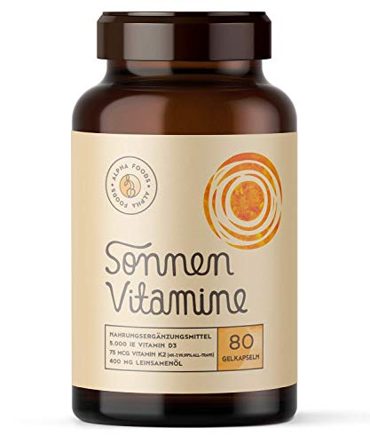 5.000 IE Vitamin D3, K2 und Leinöl - SONNENVITAMINE - Ohne Zusatzstoffe, ohne Hilfsstoffe - 80 Vegane Depot-Softgels - EINFÜHRUNGSPREIS