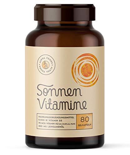 5.000 IE Vitamin D3, K2 und Leinöl   SONNENVITAMINE   Ohne Zusatzstoffe, ohne Hilfsstoffe   80 Vegane Depot-Softgels   EINFÜHRUNGSPREIS