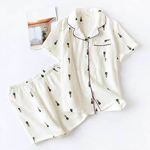 YLGAN Pijamas para Mujer, Pijamas de Color para Mujer con Pantalones Cortos, Estampado de Zanahoria de algodón, Traje de Manga Corta, Pantalones y Camiseta, Ropa de Dormir para Mujer, lencería, ro