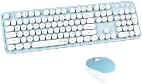 UBOTIE Colorful Computer Wireless Keyboard Mouse Combos Typewriter Flexible Keys Office Full product image