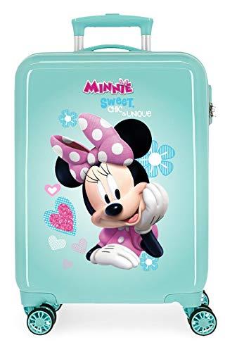 Disney Minnie Fabulous Maleta de Cabina Infantil Turquesa 55x38x20 cm | Equipaje de Mano, Trolley de Viaje Ryanair, Easyjet | Maleta de Viaje Fin de Semana Rígida Divertida