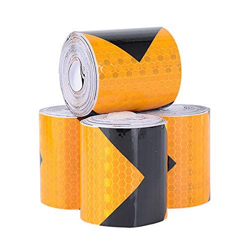 4 Rollen 5cm x 3meter Reflektorband Selbstklebend reflektierendes Kebeband Warnklebeband Reflektor Klebeband Schwarz Gelb für Sicherheit Warnung Markierung