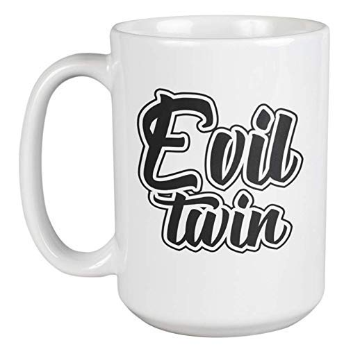 N\A Gemelo Malvado. Taza de Regalo de café y té de Recuerdo de Gemelos para Gemelos no idénticos o idénticos, Hermano Mayor o Hermana, Gemelos, niñas y Mujeres con Gemelo fraterno