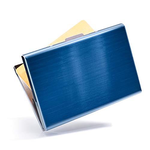 VALLET® Kartenetui Kreditkarten Etuis für Damen Herren aus gebürstetem Edelstahl - Visitenkarten Etuis 6 Fächer für bis zu 10 Karten - EC Karten Hülle RFID NFC Schutz Kreditkartenetui - blau
