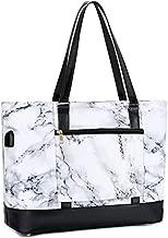 Large Tote Bag for Women 15.6 Inch USB Laptop Shoulder Purse Bag for Teacher Work School Travel Handbags (Marble White)